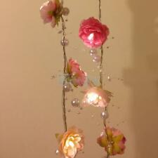 2m Pearl String Rose Garland Fairy Lights Night Light with 20 LED for Home Decor
