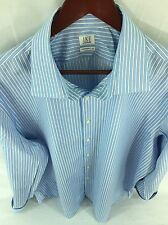 IKE BEHAR Mens XL 17.5, 35 Blue & White Striped Long Sleeve FRENCH CUFF