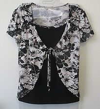 Womens Susan Lawrence M Black White Floral Twofer Stretch Knit Top Cardigan S/S