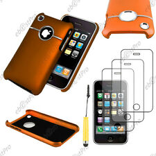 Housse Coque Silver-Line chromé Orange Apple iPhone 3GS 3G+Mini Stylet+3 Films
