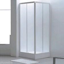Box doccia scorrevole angolare in cristallo 4 mm cabina bagno 80x80 vetro opaco