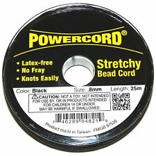 WC229f Powercord Black 0.8mm Elastic Jewelry & Beading Stretch Cord 25-Meter