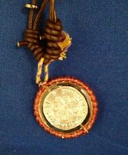 Virgencita Plis Necklace Medal Silver and Leather. Made in Mexico New