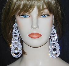"BRIDAL SILVER WITH CLEAR RHINESTONE 4.1/2"" DANGLE CHANDELIER CLIP EARRINGS"