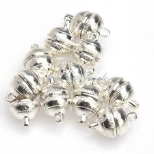 3 Sets Round Magnetic Clasps Silver Plated/Gold Plated 8mm Silver