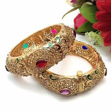 Indian Bridal Costume Jewellery Party Ethnic Wear Polki Bangles Size:(2.8)