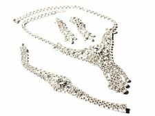 Vintage Czech silver tone plate floral rhinestone necklace earrings bracelet set