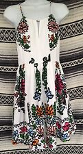 anthropologie Tracy Reese Floral Cotton White Dress Floral Sz 4 Key A Line