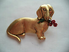 """Vintage Signed JJ """"Gold pewter Dachshund holding Flowers"""" Brooch/Pin"""
