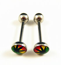 2Pc 316L Stainless Steel Marijuana/Weed Leaf Tongue Nipple Bar Barbell Ring