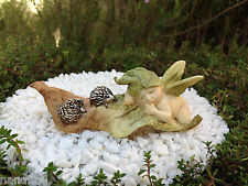 Miniature Figurine FAIRY GARDEN ~ Sleeping Leaf Fairy Baby with Hedgehogs ~ NEW
