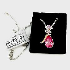 HOT!! New Rose Pink Drop Necklace made with Genuine Swarovski Crystal Elements