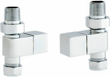 Designer Straight Square Chrome Modern Heated Towel Rail Rad Radiator Valves