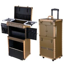 Pro Hair Makeup Train Case Salon Tool Storage Rolling Wheeled Extra Large Box