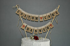 Custom Cake Banner Wedding Cake Topper Mini Bunting Topping Hessian Burlap