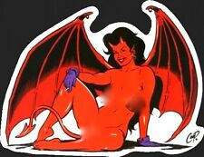 SEXY DEVIL GIRL wings/cigarette STICKER by coop **FREE SHIPPING** decal pop art