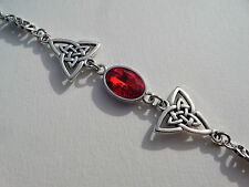 BRACELET DARK SILVER PLATED TRI CELTIC KNOTS & FACETED RED GLASS CRYSTAL OVAL