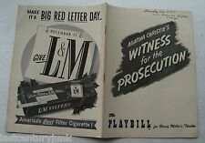 Playbill For Witness For The Prosecution 1955 By Agatha Christie/ Joan Alexander