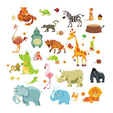 24pcs Jungle Safari Animal Removable Wall Sticker Decal Kids Nursery Decor Mural
