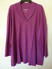 "Women's 3X Fit 4X Purple Berry Shawl Collar LS Knit Top T-Shirt Bust 60"" ROAMANS"