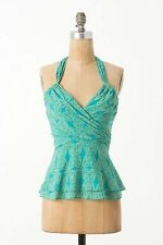 Anthropologie Vanessa Virginia Blue Green Corset Peplum Halter Top Size 0
