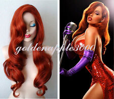 """28""""70cm Jessica Rabbit Long Wavy Copper Red Cosplay Wig + Free Purple Gloves"""