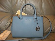 MICHAEL KORS SUTTON SM SATCHEL BAG PURSE SKY BLUE SAFFIANO LEATHER NWT $278