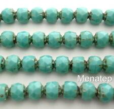 25 6mm Czech Glass Firepolish Renaissance Beads: Opaque Turquoise - Picasso