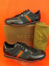 NIB GUCCI BLACK GUCCISSIMA CANVAS LEATHER WEB STRIP SNEAKERS 14 15 #237715