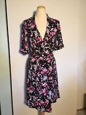 Diane Von Furstenberg DVF Silk Black and Pink Wrap Dress Womens 6