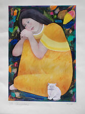 Signed Listed Artist Mario Cespedes Edition 44/180 Girl Cat Lithograph Print!