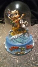 "1996 BETTY BOOP "" SURFBOARD BETTY ""  HAND PAINTED FIGURINE IN GLASS DOME"