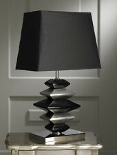 Modern Contemporary Black and Silver Pebbles Table Lamp