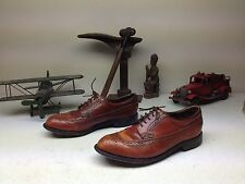 VINTAGE DEXTER BROWN LEATHER WING TIP LACE UP GOLF SHOES SIZE 9.5 M