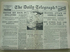 DAILY TELEGRAPH WWII NEWSPAPER FEBRUARY 13th 1942 BRITISH HIT BACK IN SINGAPORE