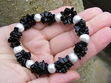 Black Tourmaline Gemstone Crystal Bead Bracelet A Grade 10mm & 6mm Beads