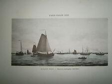 Gravure 19° 1899 couleur Peinture R. Mols: Marée montante Anvers voilier port