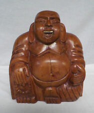 Carved Wood Seated Buddha Figure Statue Inlaid Teeth