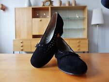 ANTIK Salamander Damen pumps 50er Schwarz Velour Leder Schuhe uk3,5 True Vintage