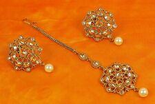 2254 Designer Wedding Earring Maang Tikka Set White Pearl Stone Polki Jewelry