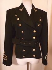 COMME CA des halles BLACK Wool Military Band Style Blazer Jacket Sz S~ 36 France