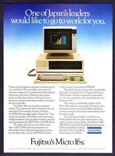 "1983 Fujitsu Micro 16s Personal Computer photo ""One of Japan's Leaders"" print ad"