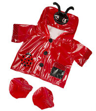 """RED Ladybug coccinella Impermeabile Stivali Vestito Abiti Fit 15"""" Build A Bear Peluche"""
