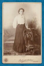 C1880'S CABINET CARD LADY WITH LOCKET PHOTOGRAPHER SYLVESTER DOBSON OF NORWICH