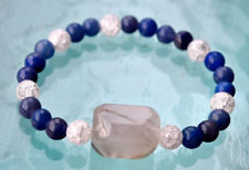 8 mm Crystal Quartz Himalyan Ice with Lapis Lazuli Budha Prayer Beads Handmade B