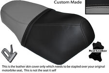 GREY AND BLACK CUSTOM FITS SUZUKI AY 50 KATANA DUAL LEATHER SEAT COVER