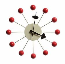 mid century danish modern nelson style sunburst red ball wall clock