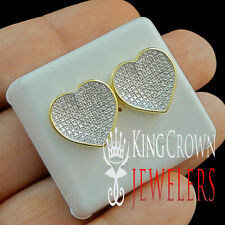 MENS LADIES REAL GENUINE DIAMOND HEART SHAPE GOLD FINISH STUD EARRING SCREW BACK