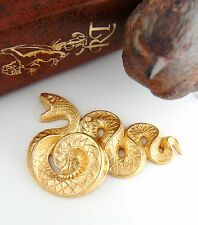 BRASS Large Serpent SNAKE Stamping - Jewelry Gothic Finding (C-506) `