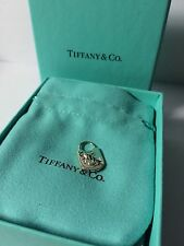 Beautiful Tiffany & Co Silver Hammered Key Hole Lock Charm Pendant W/ Box Pouch